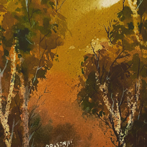 forest watercolor on paper digital print, 12 x 18 inch, prasenjit mishra,12x18inch,cartridge paper,paintings,landscape paintings,photo ink,GAL03306745917