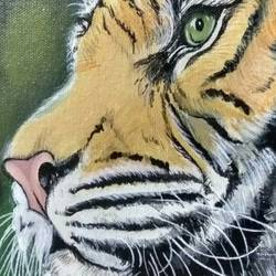 tiger, 6 x 7 inch, monali ghule,wildlife paintings,paintings for living room,animal paintings,canvas,acrylic color,6x7inch,GAL016204592