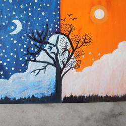 day and night, 10 x 12 inch, gargi khatavkar khatavkar,10x12inch,canvas board,paintings,nature paintings   scenery paintings,acrylic color,poster color,GAL03281745922