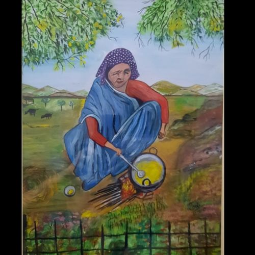 lady cooking food in field, 12 x 17 inch, jyoti  nargotra ,12x17inch,ivory sheet,realistic paintings,paintings for dining room,paintings for dining room,watercolor,GAL03304745927