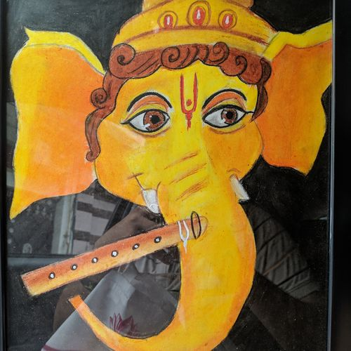 ganesh chaturthi special painting , 10 x 12 inch, abhishek bhardwaj,10x12inch,ivory sheet,paintings for living room,paintings for hotel,abstract drawings,ganesha drawings,paintings for living room,paintings for hotel,pastel color,GAL03305845928
