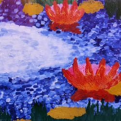 palette knife lotus painting, 18 x 14 inch, pooja lokhande,18x14inch,canvas,paintings,wildlife paintings,flower paintings,paintings for dining room,paintings for living room,paintings for bedroom,paintings for office,paintings for bathroom,paintings for kids room,paintings for hotel,paintings for kitchen,paintings for school,paintings for hospital,acrylic color,GAL0420545963