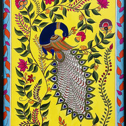 peacock bharani style madhubani painting, a3 size, framed, 12 x 17 inch, kusha jangir,12x17inch,canson paper,paintings,art deco paintings,madhubani paintings | madhubani art,paintings for dining room,paintings for living room,paintings for bedroom,paintings for office,paintings for kids room,paintings for hotel,paintings for school,paintings for hospital,acrylic color,paper,GAL03252045965