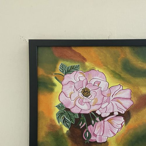 handmade acrylic painting, colorfull rose flower | a4 size | framed, 7 x 11 inch, kusha jangir,7x11inch,canvas,paintings,flower paintings,nature paintings | scenery paintings,paintings for dining room,paintings for living room,paintings for bedroom,paintings for office,paintings for kids room,paintings for hotel,paintings for school,paintings for hospital,acrylic color,fabric,GAL03252045970