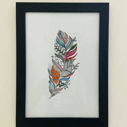 handmade painting zentagle colorful feather art | a4 size | framed, 7 x 12 inch, kusha jangir,7x12inch,brustro watercolor paper,paintings,abstract paintings,nature paintings | scenery paintings,art deco paintings,paintings for dining room,paintings for living room,paintings for bedroom,paintings for office,paintings for bathroom,paintings for kids room,paintings for hotel,paintings for kitchen,paintings for school,paintings for hospital,acrylic color,pen color,paper,GAL03252045979
