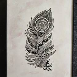handmade painting zentagle black & white feather art, drawn | a4 size | framed, 7 x 12 inch, kusha jangir,7x12inch,brustro watercolor paper,paintings,abstract paintings,nature paintings | scenery paintings,art deco paintings,paintings for dining room,paintings for living room,paintings for bedroom,paintings for office,paintings for bathroom,paintings for kids room,paintings for hotel,paintings for kitchen,paintings for school,paintings for hospital,ink color,pen color,paper,GAL03252045980