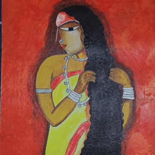 tribal woman, 12 x 16 inch, kritika bagchi ,12x16inch,handmade paper,paintings,folk art paintings,paintings for dining room,paintings for hotel,acrylic color,GAL03091045987