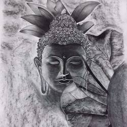 buddha, 26 x 34 inch, khushi shah,26x34inch,drawing paper,drawings,paintings for dining room,paintings for living room,paintings for office,paintings for kids room,paintings for hotel,paintings for school,buddha drawings,paintings for dining room,paintings for living room,paintings for office,paintings for kids room,paintings for hotel,paintings for school,charcoal,GAL03308345992