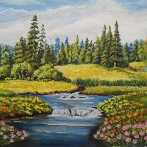 beauty of nature , 14 x 18 inch, vaishali desai,nature paintings,paintings for living room,canvas,acrylic color,14x18inch,GAL01646Nature,environment,Beauty,scenery,greenery,trees,water,beautiful,leaves,flowers