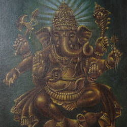 lord  mooshikan , 15 x 12 inch, dinak divakaran,religious paintings,paintings for living room,canvas,acrylic color,15x12inch,GAL0229460