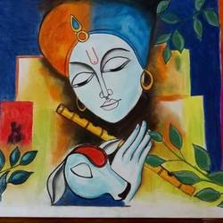 krishna, 30 x 25 inch, khushi shah,30x25inch,drawing paper,drawings,fine art drawings,paintings for dining room,paintings for living room,paintings for office,paintings for kids room,paintings for hotel,paintings for kitchen,paintings for school,paintings for hospital,pastel color,GAL03308346000