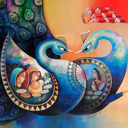 affection 24, 40 x 35 inch, sanjay  tandekar ,40x35inch,canvas,paintings,modern art paintings,contemporary paintings,paintings for dining room,paintings for living room,paintings for bedroom,paintings for office,paintings for hotel,paintings for hospital,acrylic color,GAL0281046009