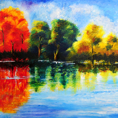 realm of serene, 39 x 15 inch, neeraj parswal,paintings for office,landscape paintings,nature paintings,canvas,acrylic color,39x15inch,GAL094601Nature,environment,Beauty,scenery,greenery,shadow,trees,colorful