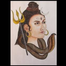 mahadev, 12 x 17 inch, chinmayi a,12x17inch,cartridge paper,drawings,fine art drawings,paintings for living room,pencil color,watercolor,GAL03311346013