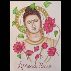 spread peace, 12 x 17 inch, chinmayi a,12x17inch,cartridge paper,drawings,paintings for living room,buddha drawings,paintings for living room,pen color,pencil color,paper,GAL03311346014