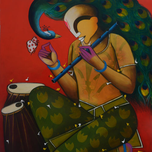 mesmerizing tunes 12, 36 x 42 inch, anupam  pal,36x42inch,canvas,paintings,abstract paintings,figurative paintings,conceptual paintings,abstract expressionism paintings,realism paintings,radha krishna paintings,contemporary paintings,children paintings,madhubani paintings | madhubani art,lord shiva paintings,phad painting,kalamkari painting,miniature painting.,paintings for dining room,paintings for living room,paintings for bedroom,paintings for office,paintings for bathroom,paintings for kids room,paintings for hotel,paintings for kitchen,paintings for school,paintings for hospital,acrylic color,GAL08246016