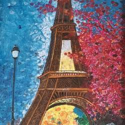 paris chronicles, 10 x 15 inch, somya jain,street art,paintings for bedroom,cityscape paintings,canvas,acrylic color,10x15inch,GAL016354603