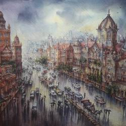 vt station -1, 30 x 23 inch, shubhashis mandal,30x23inch,handmade paper,paintings,cityscape paintings,paintings for dining room,paintings for living room,paintings for bedroom,paintings for hotel,watercolor,paper,GAL02057446038