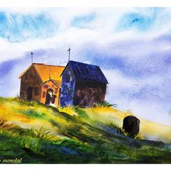 the church, 11 x 8 inch, shankhadeep  mondal,11x8inch,brustro watercolor paper,paintings,landscape paintings,nature paintings | scenery paintings,paintings for dining room,paintings for living room,paintings for bedroom,paintings for office,paintings for kids room,paintings for hotel,paintings for kitchen,paintings for school,paintings for hospital,watercolor,GAL01403046050