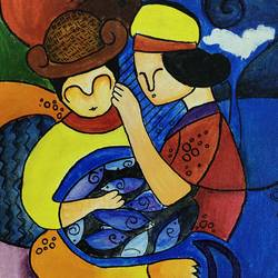 humans , 10 x 12 inch, sumeet kaur,10x12inch,canvas board,paintings,love paintings,paintings for bedroom,paintings for kids room,acrylic color,GAL03310646058