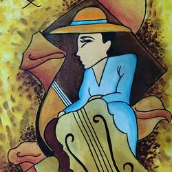 playing guitar under sunset, 18 x 29 inch, sumeet kaur,18x29inch,canvas,paintings,portrait paintings,paintings for dining room,paintings for living room,paintings for office,paintings for hotel,paintings for hospital,acrylic color,GAL03310646069