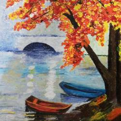 orange leaves, 15 x 10 inch, somya jain,nature paintings,paintings for bedroom,canvas,acrylic color,15x10inch,GAL016354607Nature,environment,Beauty,scenery,greenery