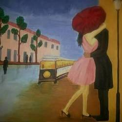 love by the streets, 17 x 13 inch, somya jain,art deco paintings,paintings for bedroom,canvas,acrylic color,17x13inch,GAL016354608