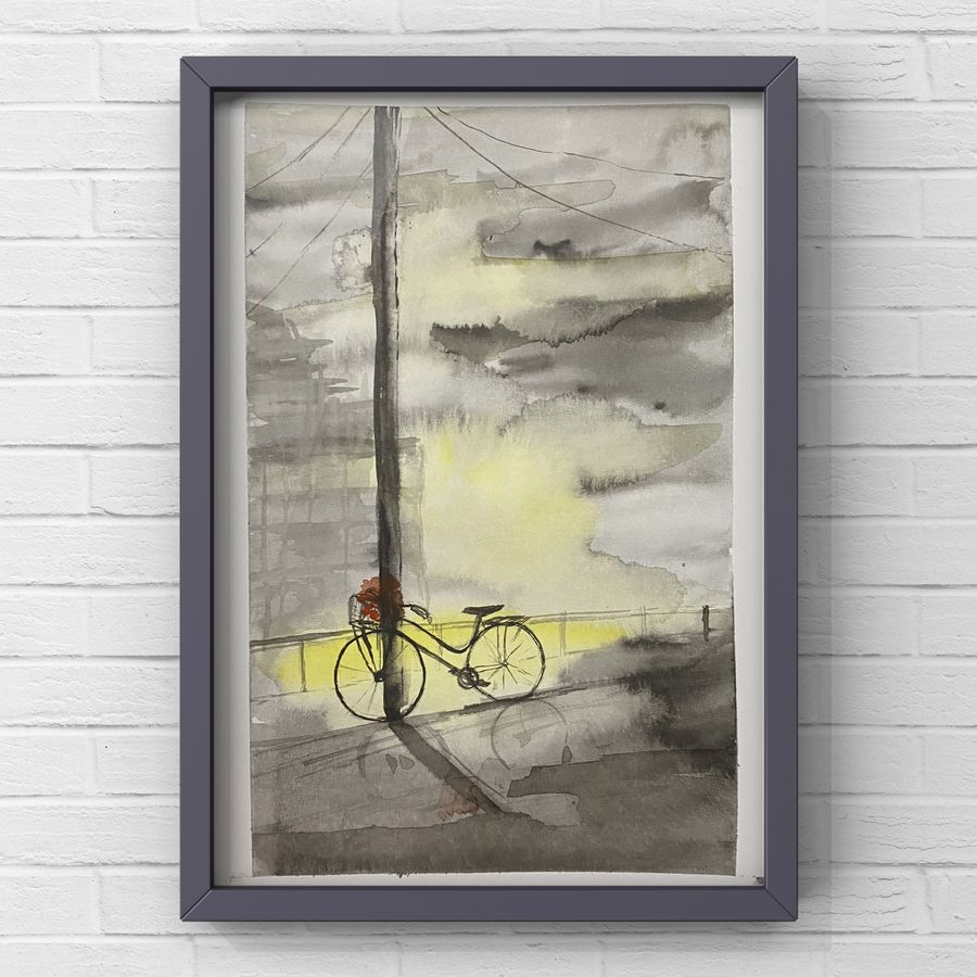 Travel diary childhood memories captured in a painting watercolour painting of cycle in a city