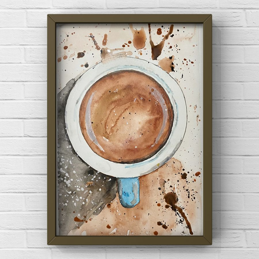 Coffee date tea coffee cup realistic watercolour painting hot drink