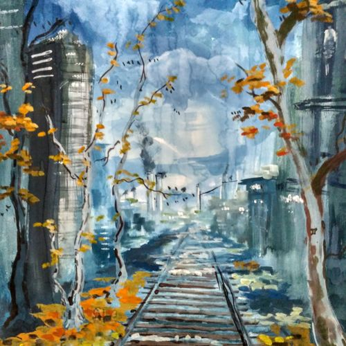 abstract railtrack, 10 x 14 inch, anirban  kar,landscape paintings,paintings for living room,paper,mixed media,10x14inch,GAL015604611