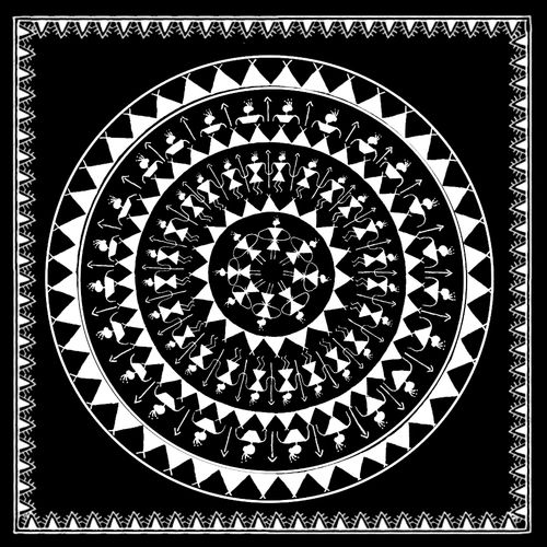warli art - black and white, 24 x 24 inch, akash bhisikar,24x24inch,canvas,paintings,warli paintings,gond painting.,paintings for dining room,paintings for living room,paintings for bedroom,paintings for office,paintings for bathroom,paintings for kids room,paintings for hotel,paintings for kitchen,paintings for school,paintings for hospital,acrylic color,fabric,GAL01828646147