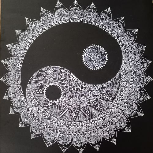 yin yang, 22 x 15 inch, vidhya sri,22x15inch,thick paper,drawings,art deco drawings,conceptual drawings,folk drawings,paintings for dining room,paintings for living room,paintings for bedroom,paintings for office,paintings for hotel,pen color,paper,GAL03317646148