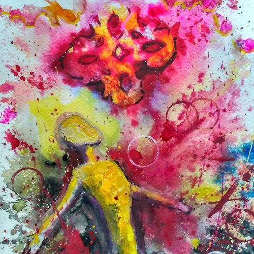 freedom, 9 x 12 inch, anirban  kar,abstract paintings,paintings for bedroom,paper,mixed media,9x12inch,GAL015604615