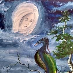 the moon and the peacock, 10 x 14 inch, anirban  kar,abstract paintings,paintings for office,paper,poster color,10x14inch,GAL015604616