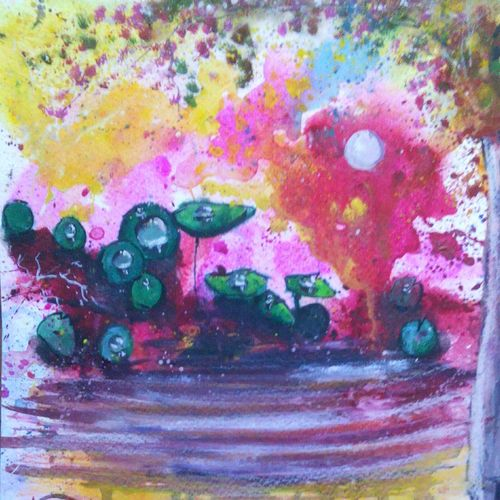 the abstract view of a lake with leaves, 8 x 12 inch, anirban  kar,abstract paintings,paintings for bedroom,paper,mixed media,8x12inch,GAL015604618
