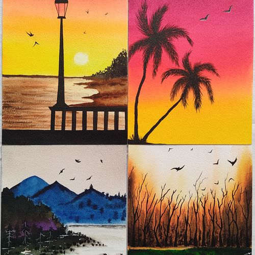 set of 4 landscapes, 10 x 14 inch, divya bhagat,10x14inch,renaissance watercolor paper,paintings,abstract paintings,landscape paintings,nature paintings | scenery paintings,paintings for dining room,paintings for living room,paintings for bedroom,paintings for office,paintings for bathroom,paintings for kids room,paintings for hotel,paintings for kitchen,paintings for school,paintings for hospital,watercolor,GAL0610346183