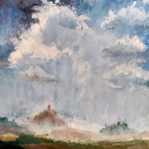 the rural clouds, 10 x 13 inch, anirban  kar,nature paintings,paintings for living room,paper,poster color,10x13inch,GAL015604619Nature,environment,Beauty,scenery,greenery