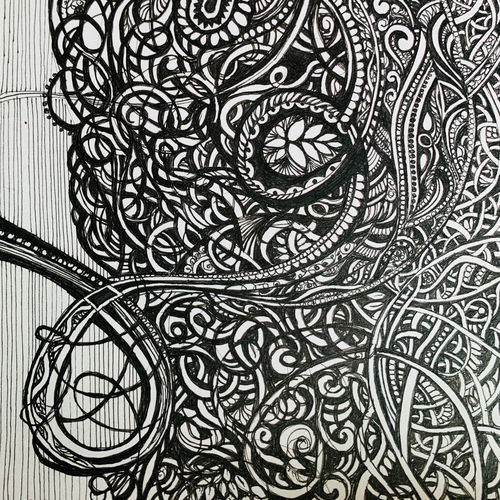entangled ii, 5 x 8 inch, shilpi chopra,5x8inch,paper,drawings,paintings for dining room,paintings for living room,paintings for office,paintings for bathroom,paintings for hotel,paintings for kitchen,ink color,pen color,paper,GAL0522446191
