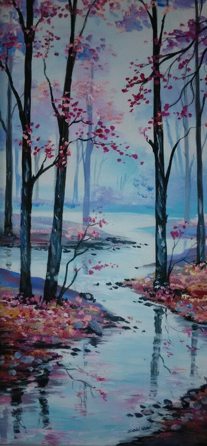 nature in peace , 12 x 24 inch, sushil  tarbar ,landscape paintings,paintings for living room,canvas,acrylic color,12x24inch,GAL0144462