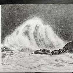 crashing waves, 11 x 9 inch, maria tirkey,11x9inch,drawing paper,drawings,abstract expressionism drawings,conceptual drawings,paintings for living room,paintings for bedroom,paintings for office,paintings for hotel,paintings for hospital,graphite pencil,GAL03320646212