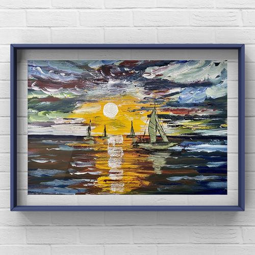 bon voyage, abstract art of a sailing boat in sea in sunset,, 8 x 6 inch, deepika gautam,8x6inch,renaissance watercolor paper,paintings,abstract paintings,landscape paintings,modern art paintings,nature paintings | scenery paintings,abstract expressionism paintings,impressionist paintings,photorealism paintings,pop art paintings,street art,surrealism paintings,contemporary paintings,paintings for dining room,paintings for living room,paintings for bedroom,paintings for office,paintings for bathroom,paintings for kids room,paintings for hotel,paintings for kitchen,paintings for school,paintings for hospital,oil color,paper,GAL02401046213