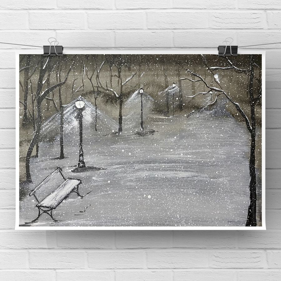 Loneliness in a snowy night original watercolour painting monochrome black and white