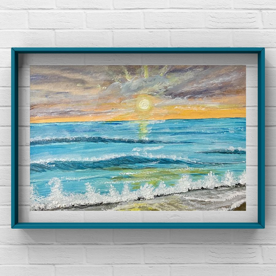 Calming sea waves in the sunset original watercolour painting