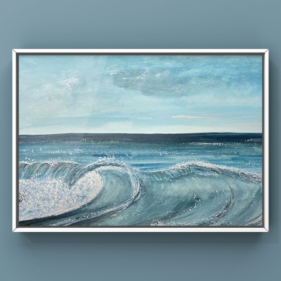 Healing waves incoming wave for surfing watercolour painting of sea waves