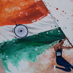 national flag-75th independence day, 27 x 34 inch, prafulla  vanmali ,27x34inch,canvas,paintings,abstract paintings,paintings for dining room,paintings for living room,paintings for bedroom,paintings for office,paintings for kids room,paintings for hotel,paintings for school,paintings for hospital,acrylic color,GAL03084746253