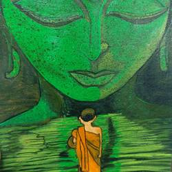 in the shelter of buddha, 10 x 12 inch, reena jai sharma,10x12inch,canvas,buddha paintings,paintings for dining room,paintings for living room,paintings for bedroom,paintings for office,paintings for kids room,paintings for hotel,paintings for school,paintings for hospital,paintings for dining room,paintings for living room,paintings for bedroom,paintings for office,paintings for kids room,paintings for hotel,paintings for school,paintings for hospital,acrylic color,GAL02882046264