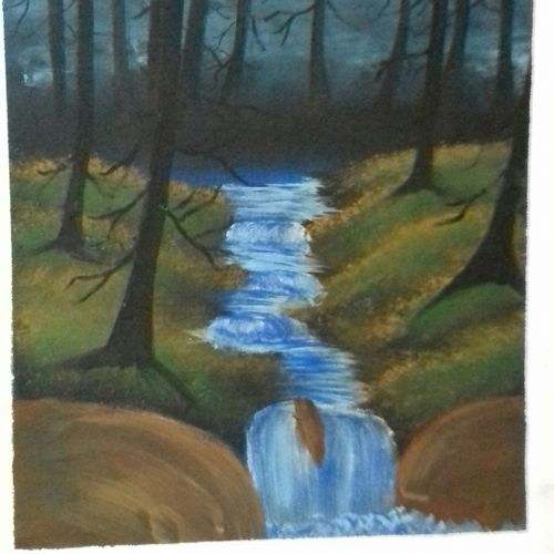 waterfall in the woods, 14 x 20 inch, keshav sai kudum,14x20inch,canvas,paintings,landscape paintings,acrylic color,GAL02855646284