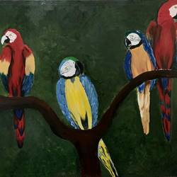 macaw parrot painting, 36 x 48 inch, aparna gautam,36x48inch,canvas,wildlife paintings,paintings for living room,paintings for hotel,paintings for living room,paintings for hotel,acrylic color,GAL03326446292