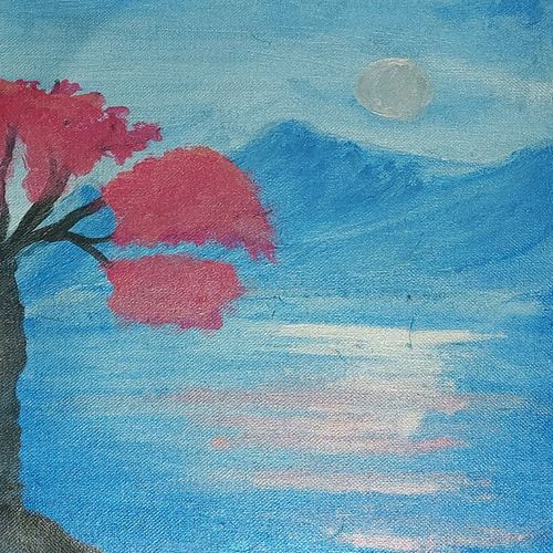 paraĺia painting, 11 x 11 inch, kshirasamudhbhaviputhra  a,11x11inch,canvas,abstract paintings,landscape paintings,acrylic color,GAL03327146300