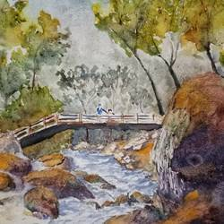 bridge over a stream, 12 x 11 inch, aswin s,12x11inch,paper,landscape paintings,nature paintings | scenery paintings,watercolor,GAL03293546305